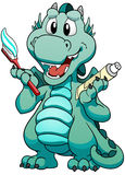 Сute mint dragon with toothpaste and toothbrush on white background. Royalty Free Stock Image