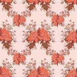 Сute orange flowers retro seamless pattern on polka dot Royalty Free Stock Image