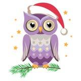 Сute owl in Santa hat. Vector illustration Stock Photography