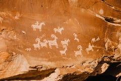 Ute Petroglyphs no parque nacional dos arcos fotografia de stock