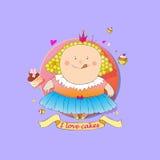Сute plump princess loves cakes Stock Photos