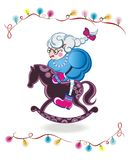 Сute sheep. Christmas cute sheep on  horse Royalty Free Stock Images