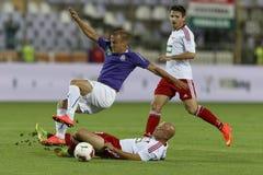 UTE versus De voetbalwedstrijd van de de Bankliga van DVSC OTP Royalty-vrije Stock Foto