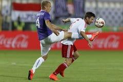 UTE versus De voetbalwedstrijd van de de Bankliga van DVSC OTP Stock Afbeelding