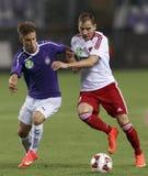UTE versus De voetbalwedstrijd van de de Bankliga van DVSC OTP Stock Afbeeldingen