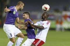 UTE versus De voetbalwedstrijd van de de Bankliga van DVSC OTP Royalty-vrije Stock Afbeelding