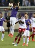 UTE versus De voetbalwedstrijd van de de Bankliga van DVSC OTP Royalty-vrije Stock Foto's