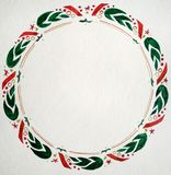 Watercolor illustration with christmas wreath stock photos