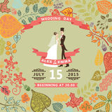 Ute wedding invitation with bride , groom ,autumn Royalty Free Stock Images