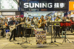 Uteliv på Mong Kok område i Hong Kong Arkivfoton