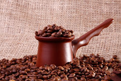 Utensílio de Coffe na lona imagem de stock