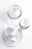 Utensílios brancos da louça e da cozinha Imagem de Stock Royalty Free