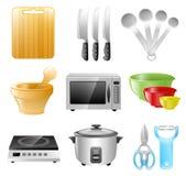Utensílios da cozinha, cozinhando, restaurante Imagens de Stock