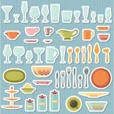 Utensílios da cozinha e ícones do cookware ajustados Fotos de Stock
