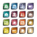 Utensílios da cozinha e ícones dos dispositivos ilustração do vetor