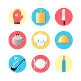 Utensílios da cozinha e ícones lisos da cozinha Fotos de Stock Royalty Free