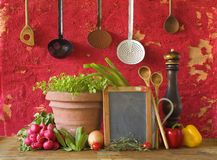 utensílios da cozinha, ingredientes de alimento Imagem de Stock