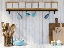 Utensílios da cozinha no fundo de madeira branco com espaço da cópia para a zombaria acima Imagens de Stock