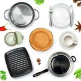 Utensílios da cozinha, objeto do vetor da vista superior Imagens de Stock