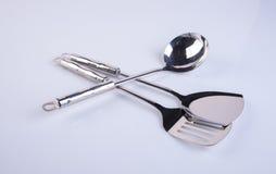 utensílios da cozinha ou utensílios de alta qualidade da cozinha no fundo Fotografia de Stock