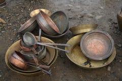 Utensílios de bronze velhos Foto de Stock