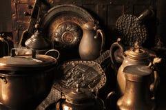 Utensílios de cobre antigos Foto de Stock Royalty Free