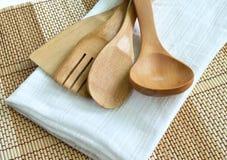 Utensílios de cozimento de madeira Fotografia de Stock Royalty Free