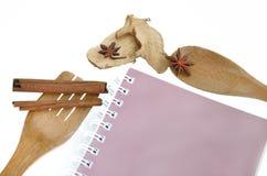 Utensílios de cozimento de madeira com o livro e as especiarias isolados no branco Fotos de Stock Royalty Free