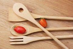 Utensílios de madeira da cozinha Foto de Stock Royalty Free