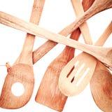 Utensílios de madeira da cozinha Fotografia de Stock Royalty Free