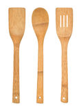 Utensílios de madeira da cozinha ajustados fotografia de stock royalty free