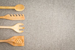 Utensílios de madeira da cozinha para cozinheiros Imagem de Stock