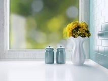 Utensílios de mesa cerâmicos no worktop Fotos de Stock