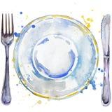 Utensílios de mesa, cutelaria, placas para o alimento, forquilha, ilustração do fundo da aquarela da faca de tabela Imagens de Stock