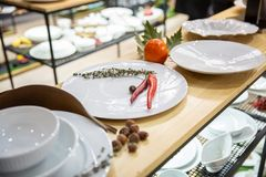 Utensílios de mesa da porcelana e decoração brancos da casa fotografia de stock