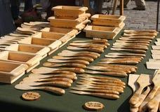 Utensílios de mesa de madeira Fotografia de Stock