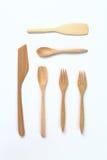 Utensílios de mesa de madeira Fotos de Stock Royalty Free