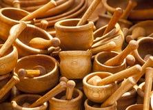 Utensílios de mesa de madeira feitos a mão Foto de Stock Royalty Free