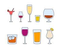 Utensílios de mesa do álcool do vetor Fotos de Stock