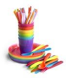 Utensílios de mesa plásticos brilhantes Fotografia de Stock Royalty Free