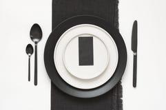 Utensílios de mesa preto e branco Imagens de Stock