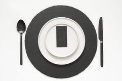 Utensílios de mesa preto e branco Imagem de Stock Royalty Free