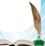 Utensílios do livro velho e da escrita Imagem de Stock Royalty Free