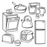 Utensílios e dispositivos da cozinha ilustração stock