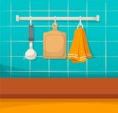 Utensílios limpos da cozinha, pratos limpos após a limpeza, ordem e comfor ilustração royalty free
