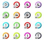 Utensílios para os ícones das bebidas ajustados Imagens de Stock