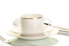 Utensílios, pratos e copo Fotografia de Stock