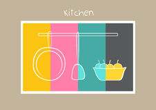Utensiis and fruit hand drawn  on color stripe ,Vector illustrations Stock Photo