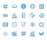 Utensil flat line icons set. Gas burner, induction stove, ceramic hob, non-stick coating, microwave, dishwasher vector. Illustrations. Thin signs for pan vector illustration