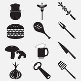 Utensil and food icon set illustration Royalty Free Stock Photo